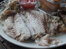 Freshly cooked fish served with sides royalty free stock photography