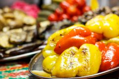 Freshly cooked grilled vegetables, tomatoes, mushrooms, eggplant royalty free stock images