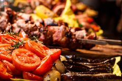 Freshly cooked grilled vegetables tomatoes stock images