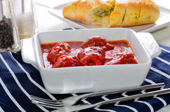 Freshly cooked home made meatballs with bolognese sauce. Stock Images