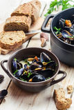 Freshly cooked mussels at home and served with bread Stock Photography