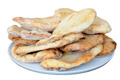 Freshly cooked Naan bread. Royalty Free Stock Photos