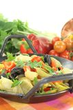 Freshly cooked Pasta pan with bell pepper Royalty Free Stock Photos