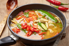Freshly cooked spicy chicken soup Stock Photos