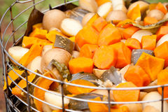 Freshly cooked vegetables in steamer Stock Photos