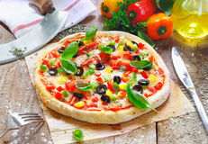 Freshly cooked vegetarian pizza Stock Photo