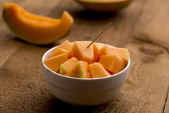 Cubes of freshly cut muskmelon Royalty Free Stock Photography