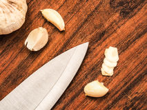 Freshly cut garlic Royalty Free Stock Image