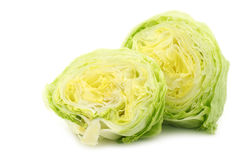 Freshly cut halves of iceberg lettuce Royalty Free Stock Photo
