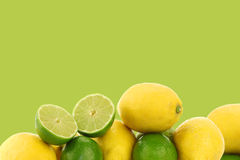 Freshly cut lime fruit and some lemons Stock Photography