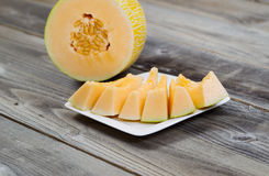 Freshly cut melon ready to eat Stock Photos