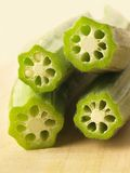 Freshly cut okra Royalty Free Stock Photography