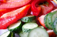 Fresh red pepper and green cucumber on a white platecloseup royalty free stock photo