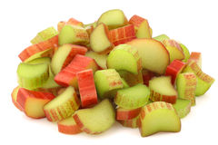 Freshly cut pieces of rhubarb Stock Photo