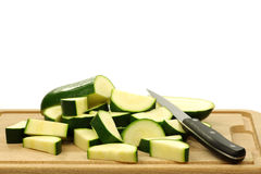 Freshly cut pieces of zucchini Royalty Free Stock Photos
