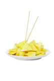 Freshly cut pineapple slices Royalty Free Stock Photos
