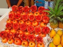 Freshly cut Pomegranates stock photography