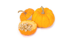 Freshly cut  pumpkin and seeds Stock Images
