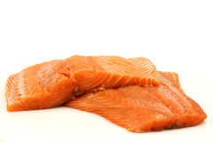 Freshly cut salmon fillets. On a white background Royalty Free Stock Photography