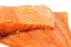 Freshly cut salmon fillets. On a white background Stock Image