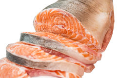Freshly cut salmon steaks Stock Photo