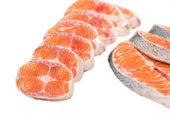 Freshly cut salmon steaks Royalty Free Stock Images