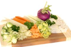 Freshly cut Soup vegetables Royalty Free Stock Photography