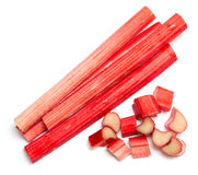 Freshly cut stems of rhubarb on a white background Royalty Free Stock Photos