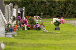 Freshly dug grave in cemetery Royalty Free Stock Photo