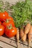 Freshly dug organic carrorts and tomatoes. On a teak table Stock Photography