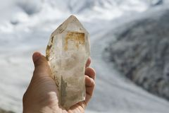 Freshly dug out natural clear quartz crystal Royalty Free Stock Image