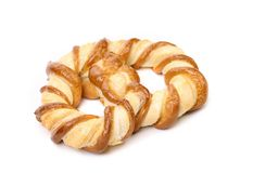 Freshly fancy pretzel baked. Isolated on a white background Royalty Free Stock Images
