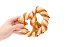 Freshly fancy pretzel baked. Royalty Free Stock Photography