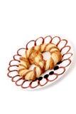 Freshly fancy pretzel on plate. Royalty Free Stock Image