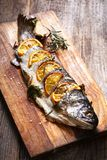Freshly fried fish with vegetables. Fish-seafood-meals Stock Photography