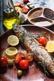 Freshly fried fish with vegetables and spices Stock Images