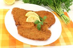 Freshly fried Wiener Schnitzel Royalty Free Stock Images