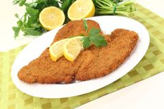 Freshly fried Wiener Schnitzel Royalty Free Stock Photo