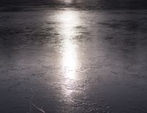 Frozen lake at sunset. background, seasonal. Royalty Free Stock Photos
