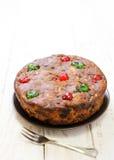 Freshly fruit cake on wood. Background Royalty Free Stock Image