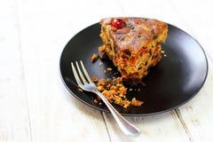Freshly fruit cake on wood. Background Royalty Free Stock Images