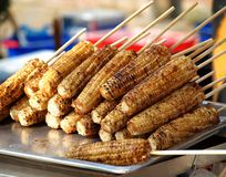 Freshly Grilled Corn Cobs Stock Images