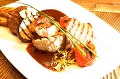 Freshly grilled meat & vegetables Stock Images