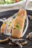 Freshly grilled salmon on a spatula Royalty Free Stock Images