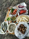 Freshly grilled seafood, shrimp, crab, fish, squid, shellfish. Thailand Royalty Free Stock Photography