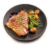 Freshly grilled T bone steak stock photos