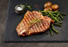 Freshly grilled T bone steak stock photography