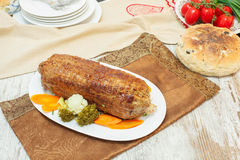 Freshly grilled veal roulade Royalty Free Stock Images