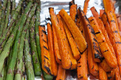 Freshly Grilled Vegetables Carrots Asparagus Royalty Free Stock Image