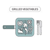Freshly grilled. Vegetables on grilling pan placed. Vector illustration Stock Photos